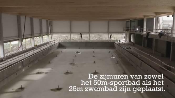 Nieuwe beelden: drone filmt bouw nieuw stedelijk zwembad