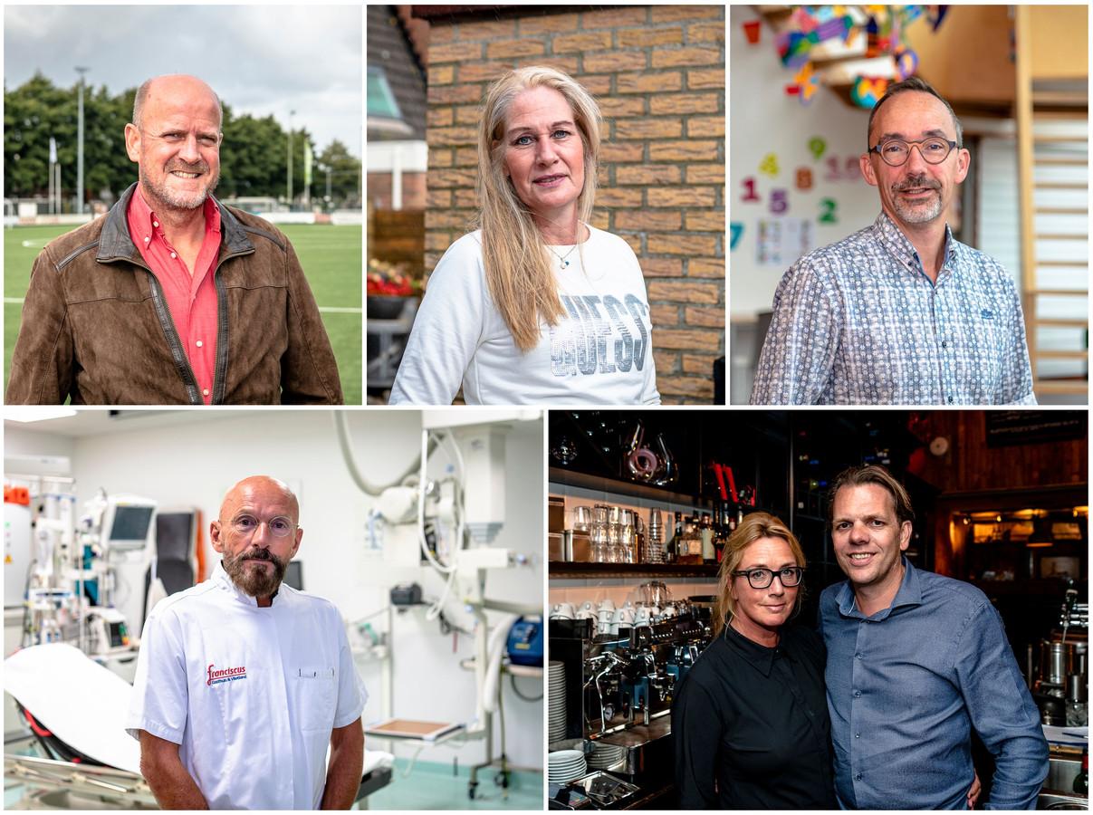 De klok rond: Johan van der Stel, Carla Rouss-van Tol, André Burghouwt, Esther en Pieter den Haan, en André Niessen.