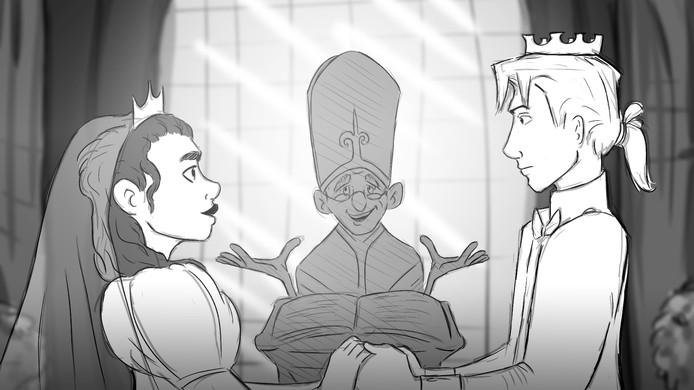 Een beeld uit de animatiefilm Prince Charming van Lava Hijzelaar.