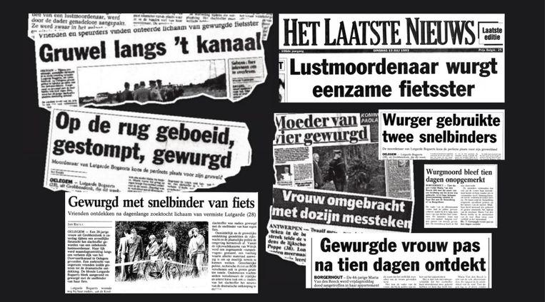 Greep uit krantenartikels uit de jaren negentig over de moorden van Du Lion.
