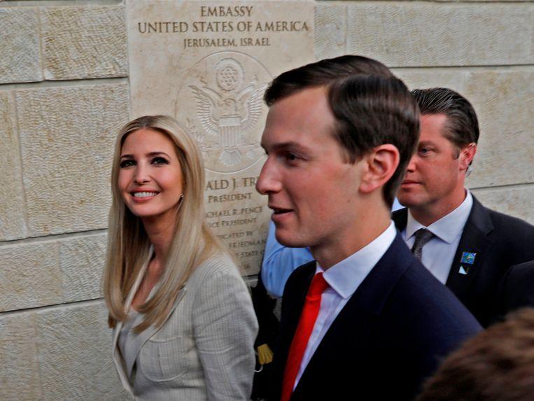 Ivanka Trump en haar echtgenoot Jared Kushner openen de Amerikaanse ambassade in Jeruzalem. Beeld AFP