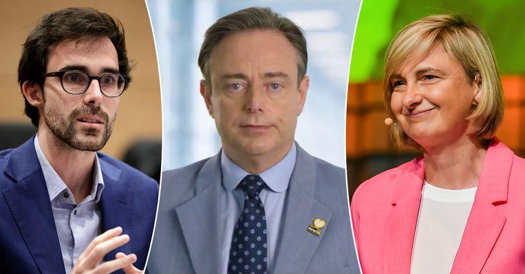 Kristof Calvo (Groen), Bart De Wever (N-VA) en Hilde Crevits (CD&V).