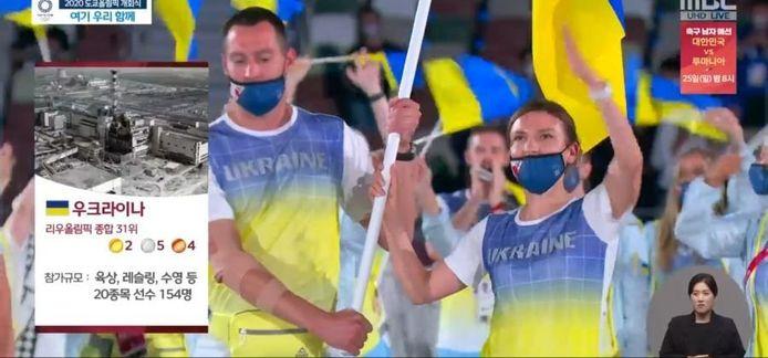 Zo beeldde MBC Oekraïne uit: met een afbeelding van Tsjernobyl.