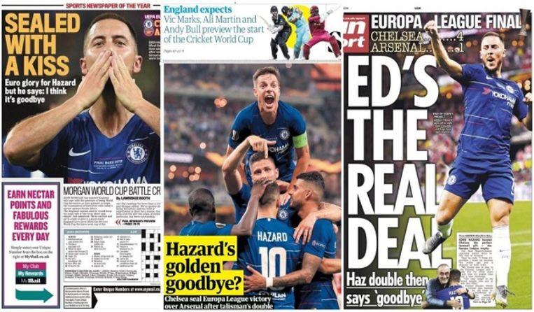 Engelse kranten zijn enthousiast over het laatste wapenfeit van Eden Hazard. Beeld rv