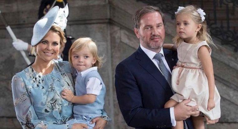 Prinses Madeleine met Nicolas en Leonore, twee van haar drie kindjes, en haar man Chris O'Neill in 2017.