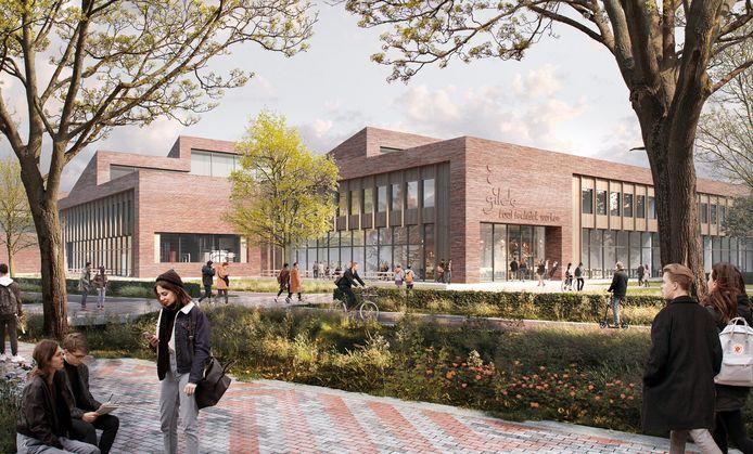 Een impressie van het nieuwe Gilde Vakcollege Techniek, gemaakt door ontwerpbureau voor architectuur en stedenbouw De Zwarte Hond.