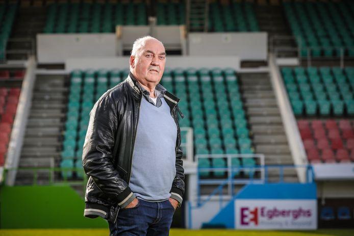 Fred Hermans, huidig keeperstrainer bij Patro Eisden, kwam voor de terugblik op zijn tijd bij Sporting Hasselt afgezakt naar het stadion.