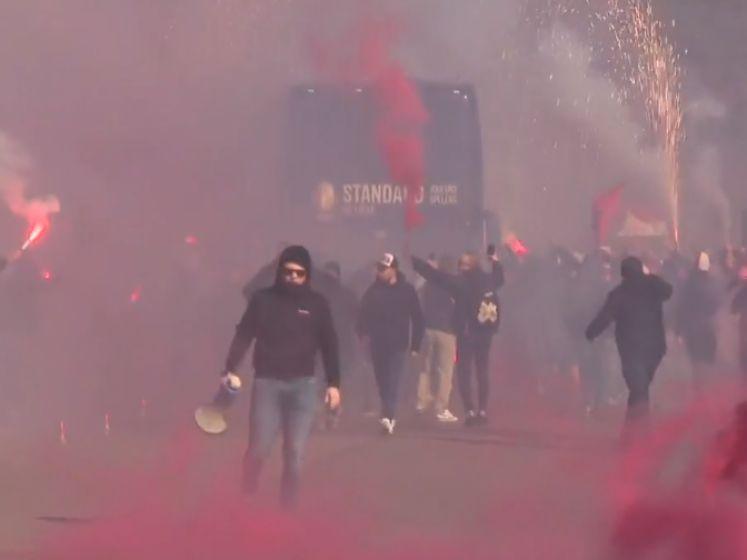 Waanzinnige beelden: Standard-fans troepen met vuurwerk, rook en bommetjes samen rond Sclessin, van afstandsregels geen sprake
