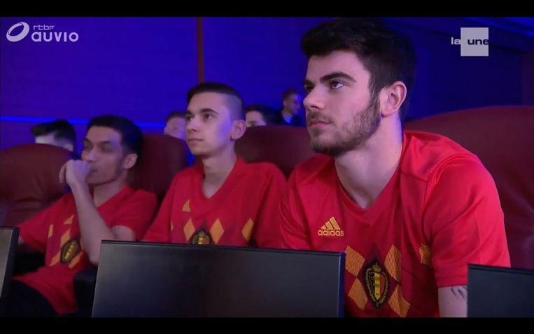 De eDevils voor hun eerste officiële interland tegen Frankrijk, op 12 mei 2018. Beeld KBVB
