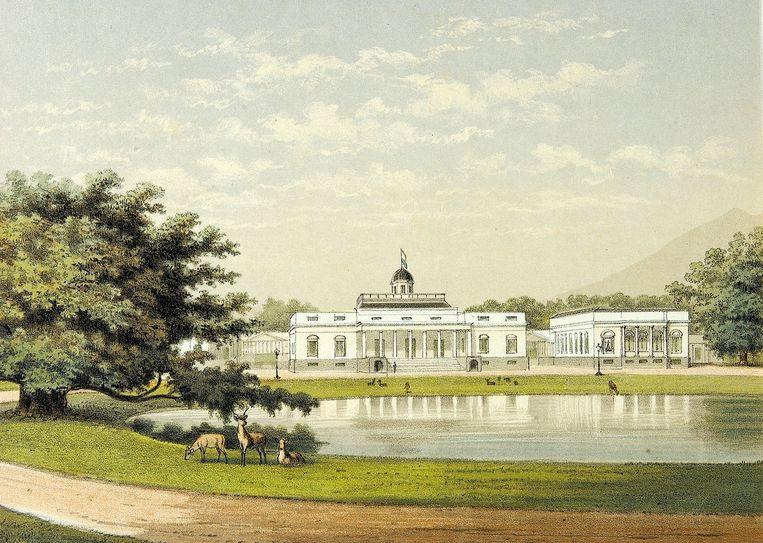Het paleis en de tuinen van de gouverneur- generaal in Buitenzorg op Java. Beeld Koninklijk Instituut voor de Tropen / Tropenmuseum
