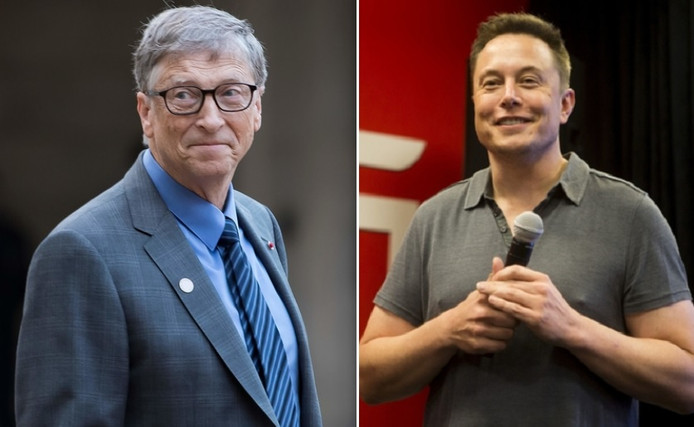 Bill Gates (links) en Elon Musk