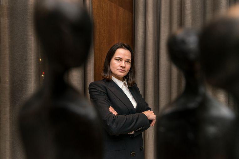 Svetlana Tichanovskaja zou in Minsk terecht moeten staan vanwege 'misdaden tegen de regering, de openbare veiligheid en de staat'. Beeld Eva Faché