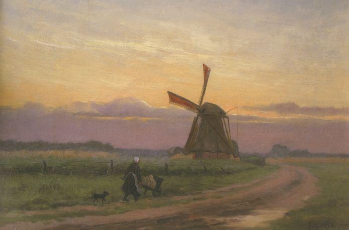De Eschmolen op het schilderij 'Avondnevel Delden' van Gerard C. Krol uit 1923. 'Avondnevel Delden', 1923, door Gerard C. Krol  uit het boek De Eschmolen in Delden