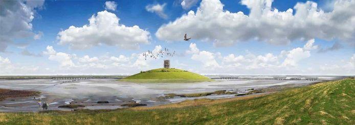 Simulatie van de landschapsheuvel die gepland is in het Grenspark.