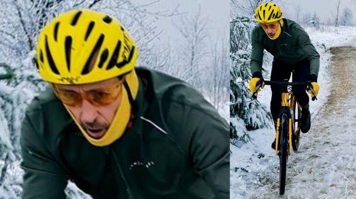 De gezochte fietser is rond de 50 jaar en normaal gebouwd. Hij heeft waarschijnlijk een snor en baard die bedekt werden door een gele nekwarmer.