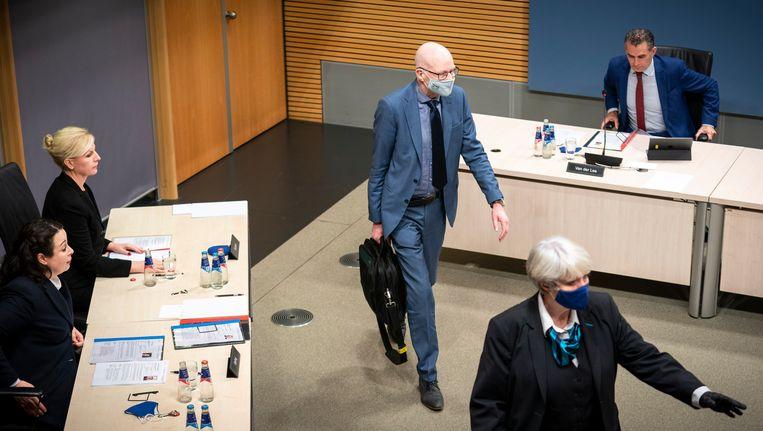 Marcelis Boereboom, voormalig directeur-generaal bij het ministerie van Sociale Zaken en Werkgelegenheid, tijdens de vierde dag van de hoorzittingen van de tijdelijke commissie die onderzoek doet naar problemen rond de fraudeaanpak bij de kinderopvangtoeslag.  Beeld Freek van den Bergh