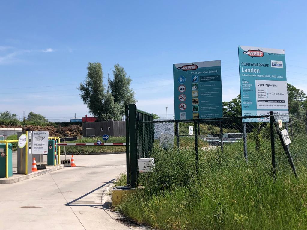 Het recyclagepark in Landen