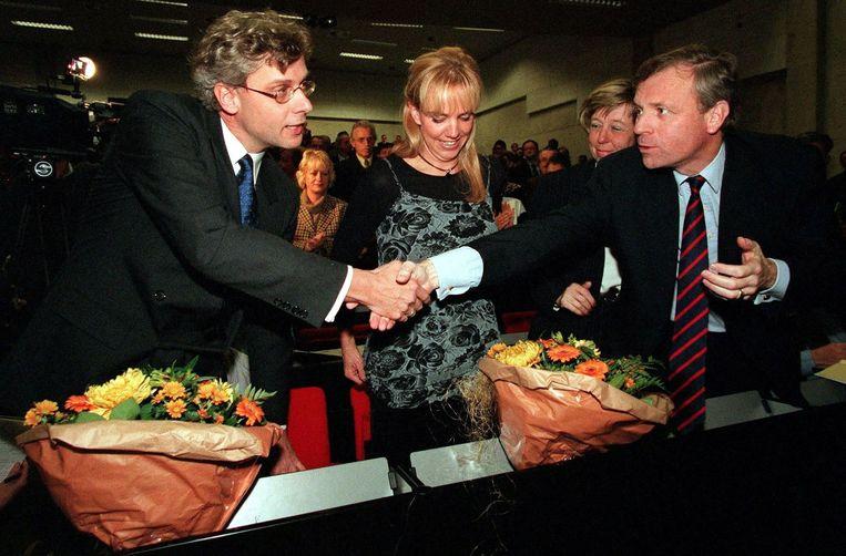CDA-voorzitter Marnix van Rij (l) en fractievoorzitter Jaap de Hoop Scheffer (r) in betere tijden. Beeld ANP