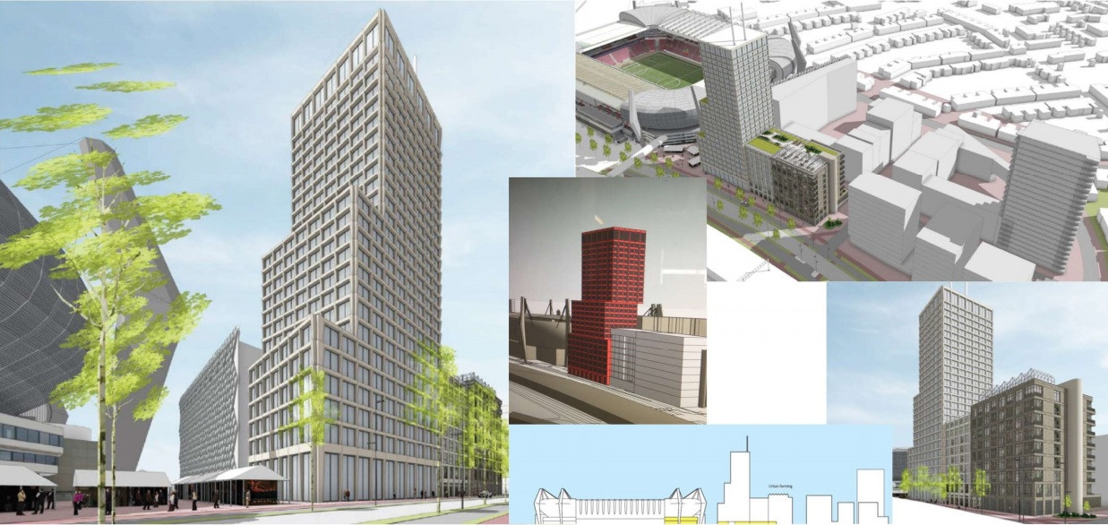 Studietekeningen voor de plek aan de PSV-laan in Eindhoven waar nu het Eurobuilding staat, het gele kantoorgebouw waar Ziggo/Vodaphone zetelt. Dat pand wordt deels gesloopt. Naast het PSV-stadion zou een toren van 90 meter verrijzen met daarnaast twee lagere blokken. Dit zijn schetsen, hoe de gebouwer er uit moeten gaan zien, is nog niet zeker. Op de tekening rechtsboven zijn ook schetsen van de drie blokken te zien die Stadionkwartier BV daar zou willen bouwen.