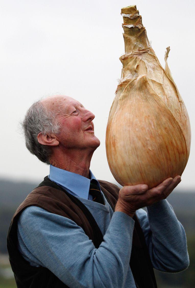 De Britse tuinder Peter Glazebrook gaat op wedstrijden steevast met de eerste prijs naar huis voor zijn gigantische kweeksels: een ui in 2011. Beeld Getty
