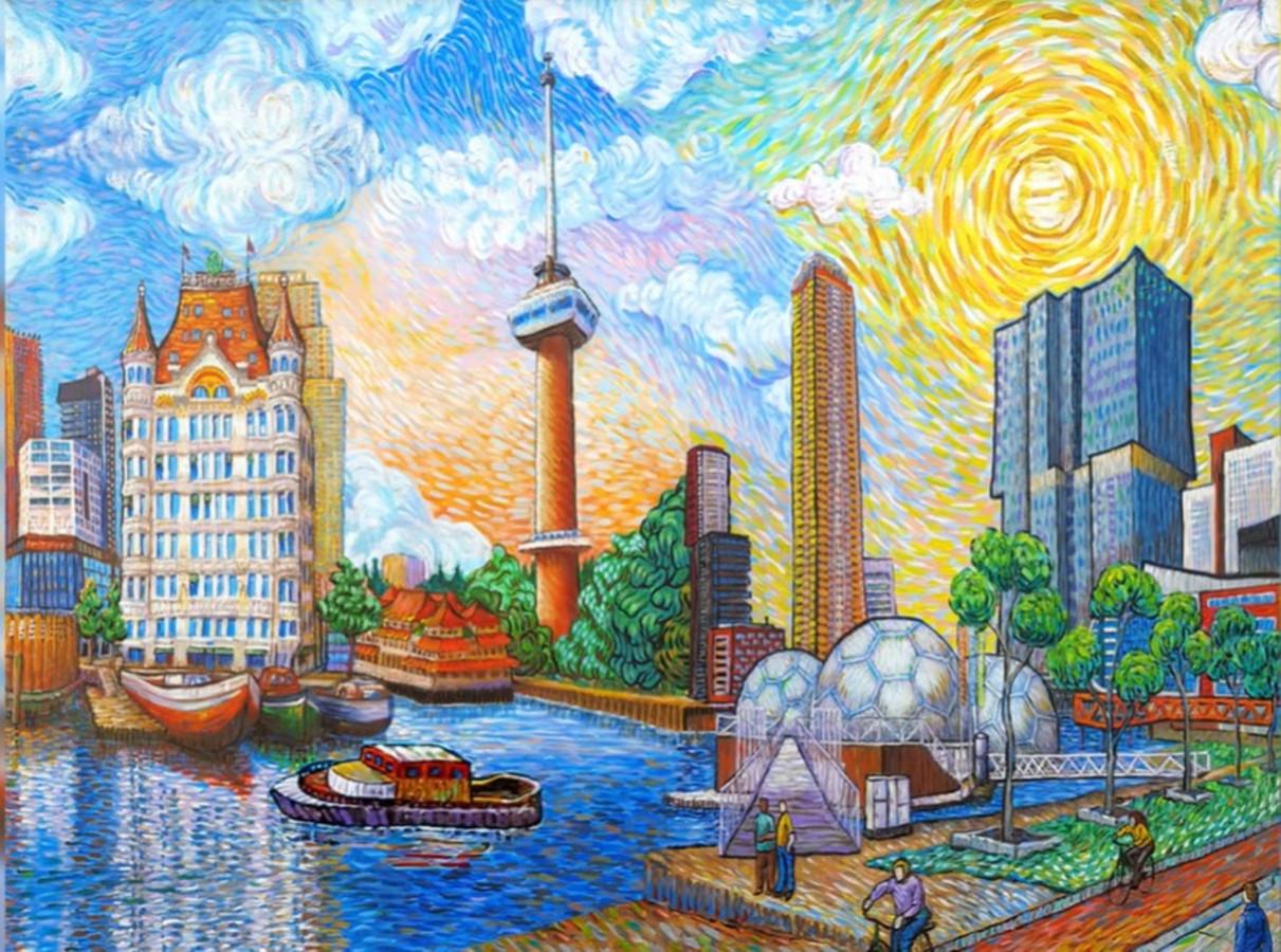 Rotterdam Als Van Gogh door kunstenares Erika Stanley uit Roosendaal. Met onder meer de Euromast, het Witte Huis en De Rotterdam.
