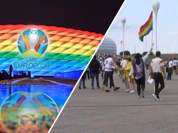 Duitse fans massaal in regenboogkleding naar EK-wedstrijd