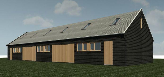 Het ontwerp van schuurwoningen zoals de SP die graag in Meierijstad ziet.