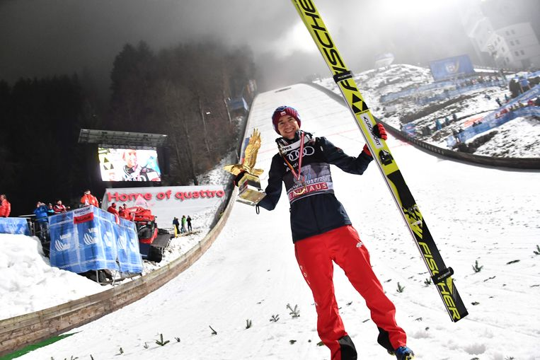 Kamil Stoch of Poland celebrates after the fourth and final stage of the Four-Hills Ski Jumping tournament (Vierschanzentournee) in Bischofshofen, Austria, January 6, 2018.