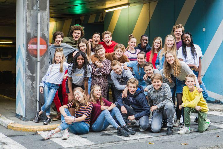 De 24 kinderen die geselecteerd werden voor een rol in de Ketnet Musical 'TROEP!'.