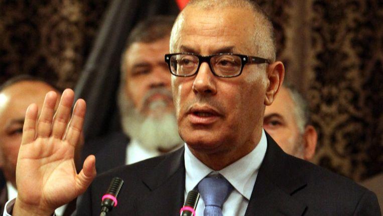 De Libische premier Ali Zeidan gisteren op een persconferentie in Tripoli. Beeld EPA