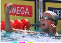 Vreugde bij Carla Geurts nadat ze zilver heeft gewonnen op de 800 meter vrije slag in 1997.