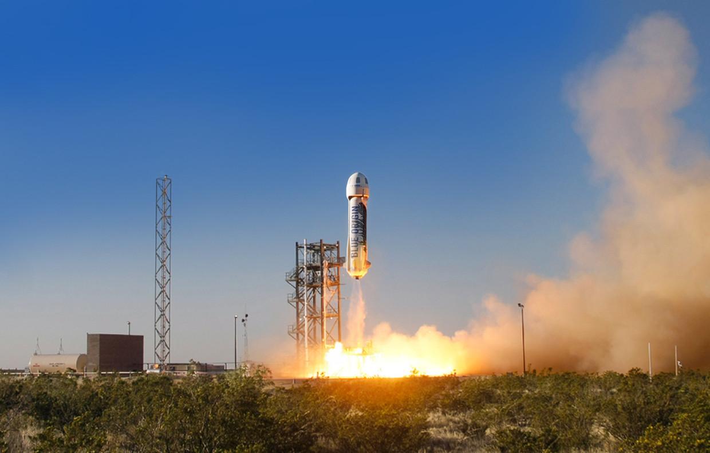 Lancering van de New Shepard Shepard van Blue Origin, het ruimtevaartbedrijf van Jeff Bezos. Beeld Blue Origin