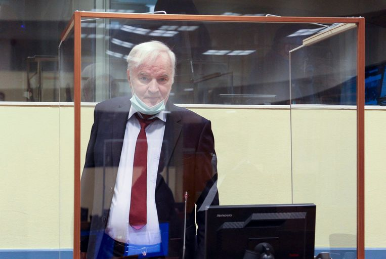 Oud-generaal Mladic in het Joegoslavië-tribunaal in Den Haag. Beeld AFP
