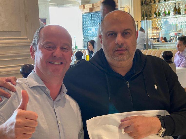 Beerschotvoorzitter Francis Vrancken samen met prins Abdullah bin Mosaad. Beeld rv