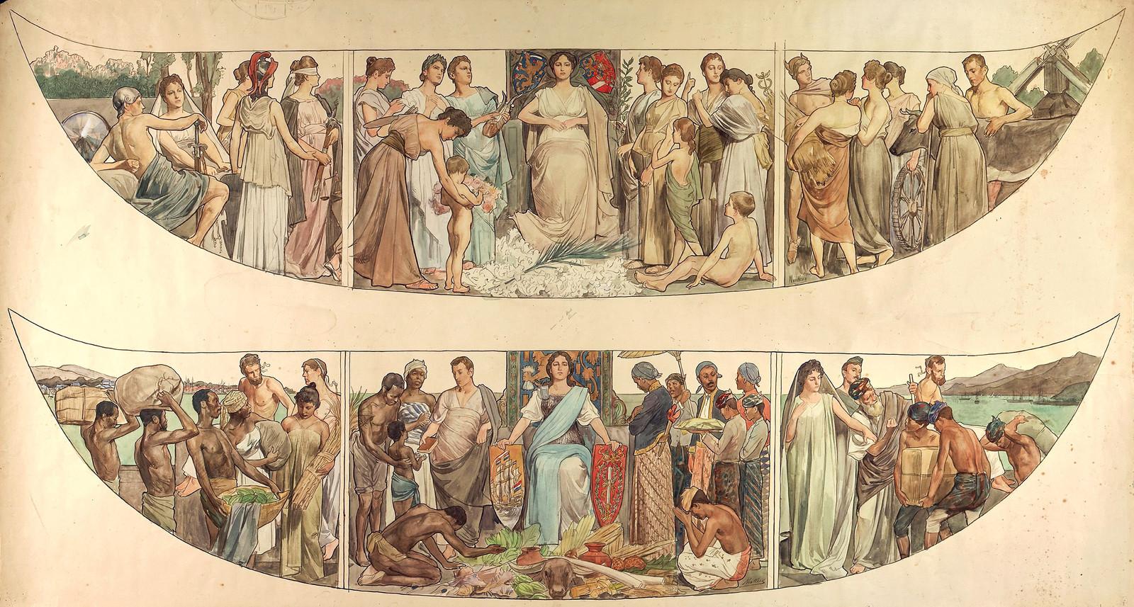 Op panelen van de Gouden Koets zijn slaven te zien.