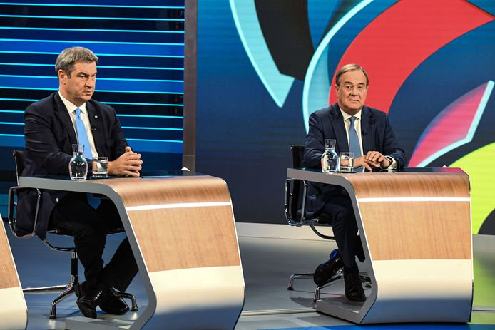 CSU-leider Markus Söder (L) en CDU-leider Armin Laschet.