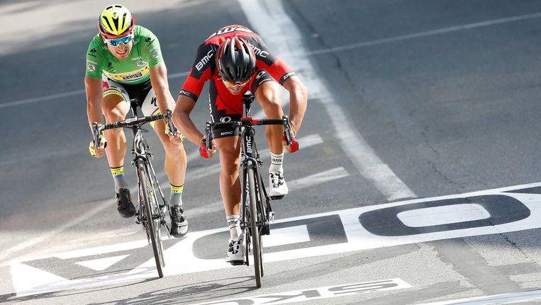 Greg Van Avermaet bij zijn winnende jump in Rodez in de Tour 2015. Beeld ANP