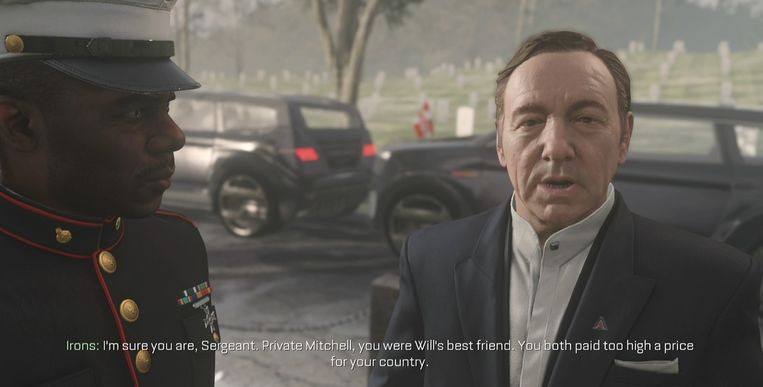 Kevin Spacey in 'Call of Duty: Advanced Warfare'. Beeld Activision