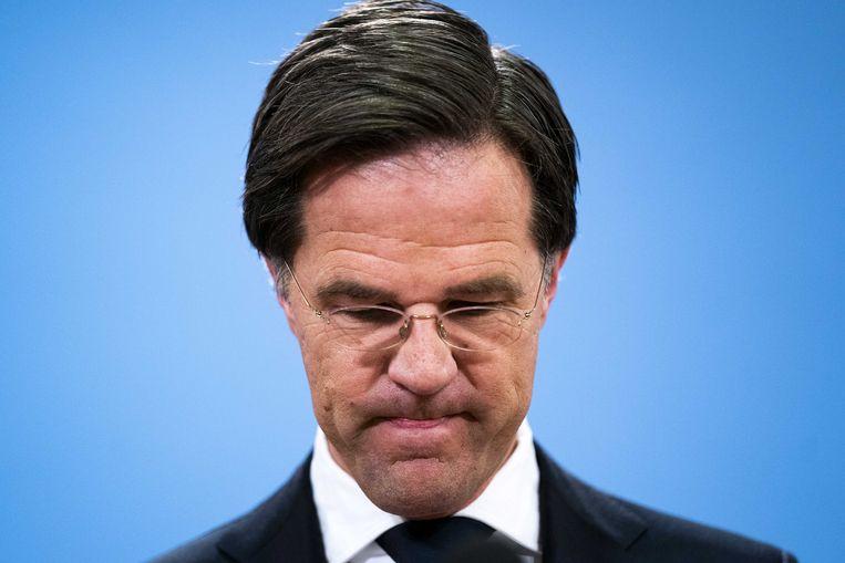 Demissionair premier Mark Rutte tijdens de persconferentie na het aftreden van het kabinet vanwege de toeslagenaffaire. Beeld ANP