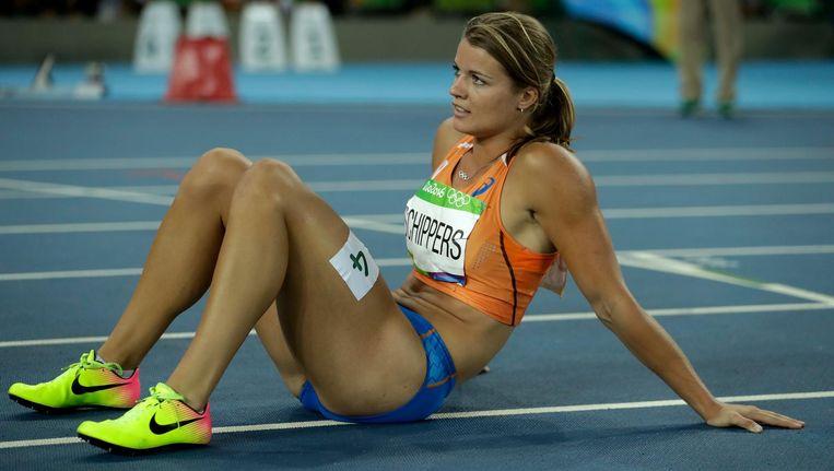 Schippers baalt na de 200 meter-finale. Beeld ap
