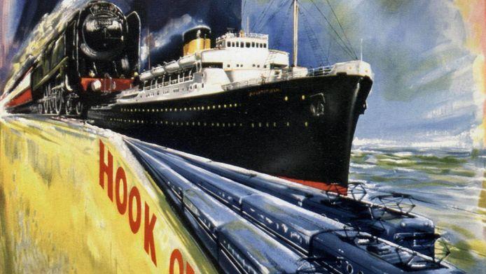 Poster van de boot-treinverbinding tussen Harwich en Hoek van Holland uit 1954.