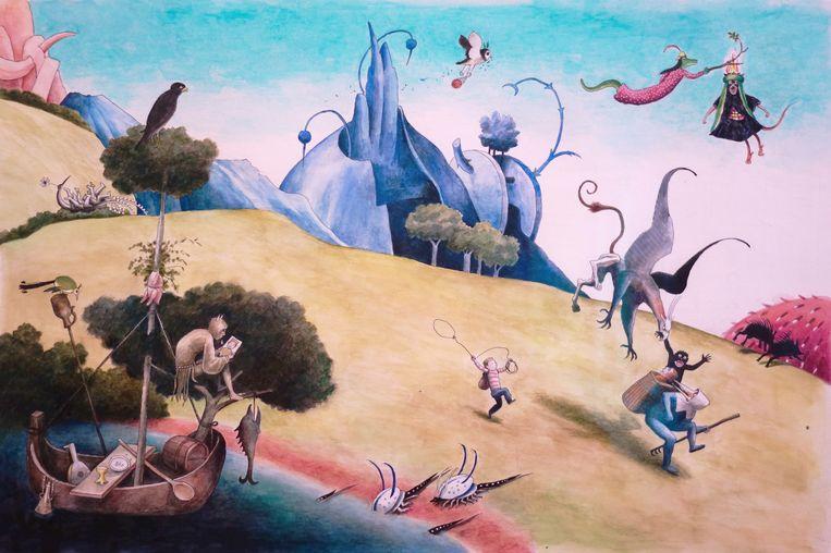 Afbeelding uit het boek Bosch, aquarel. Beeld Thé Tjong-Khing