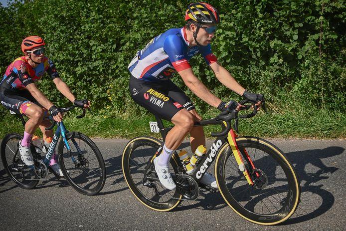Wout van Aert in de leiderstrui van de Ronde van Groot-Brittannië tijdens de etappe van gisteren.