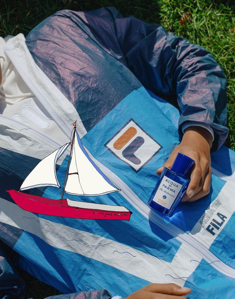Een fles Aqua die Parma en het Fila-jack van echt tyvek: meer jaren '70 kan het niet worden. Beeld illustratie Vanessa Oostijen