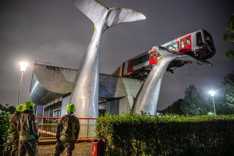 Het metro-ongeval bij Spijkenisse. Beeld Joey Bremer