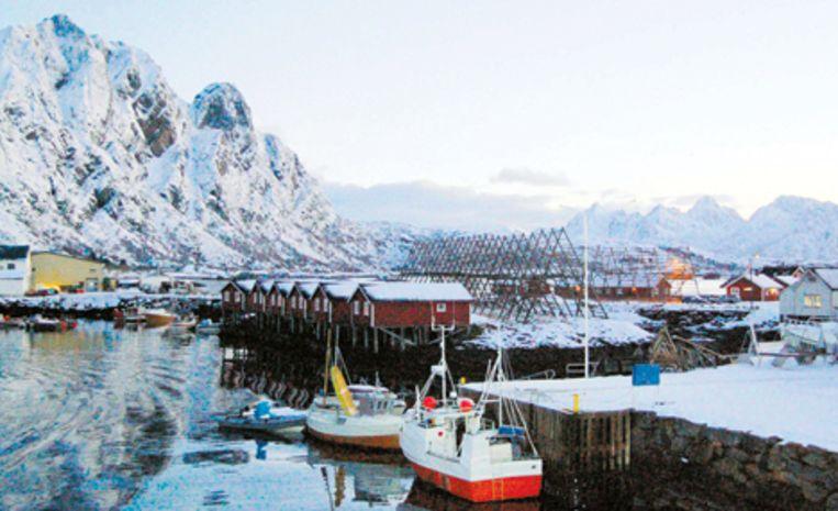 De haven van de Westfjord met de vissershutjes. Rechts de houten statieven waar kabeljauw 's zomers hangt te drogen. Foto Windy Kester Beeld
