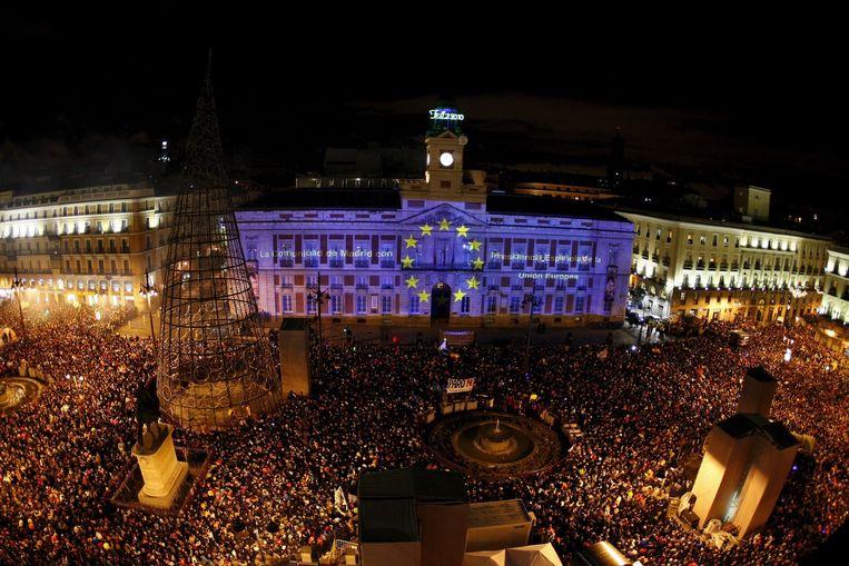 Archiefbeeld van het nieuwsjaarsfeest op de Puerta Del Sol. Beeld EPA