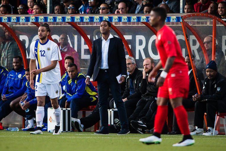 Patrick Kluivert als bondscoach van Curaçao. Beeld pro shots