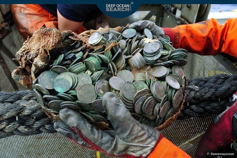 Deze munten ter waarde van in totaal 47 miljoen euro werden bovengehaald. Beeld Deep Ocean Search