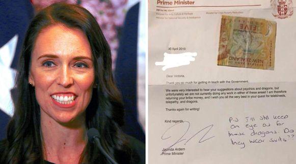 De Nieuw-Zeelandse premier Jacinda Ardern stuurde het 11-jarige meisje een brief terug.